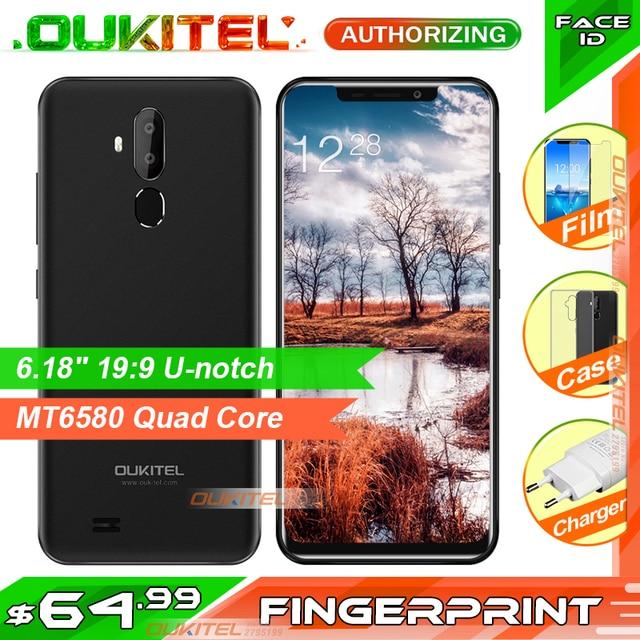 "Oukitel C12 3G 6.18"" 19:9 Smartphone 2GB RAM 16GB ROM 3300mAh MT6580 Quad Core Fingerprint  Face ID Android 8.1 Mobile Phone"