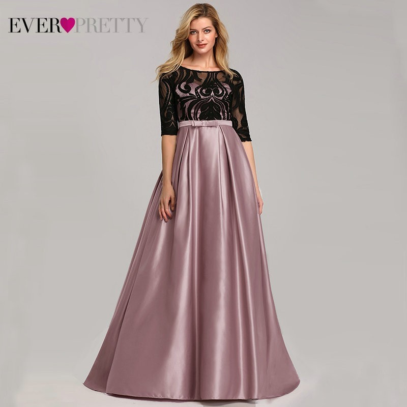 Lace Contrast Color Prom Dresses Long Ever Pretty A-Line O-Neck Sweep Train Bow Elegant Sexy Party Gowns 2019 Robe De Soiree