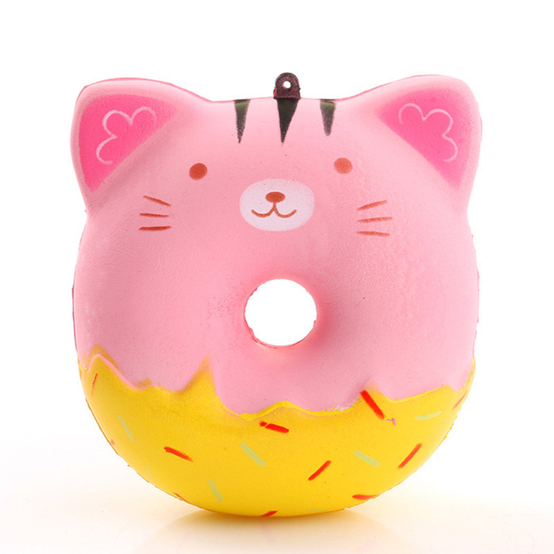 Squishy Fun Donuts Cat Squeeze Squishy Slow Rising Antistress Toy Kawaii Cute Straps 10CM Stress Reliever Funny Gadgets Kid Toy