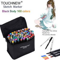 TOUCHNEW Black 168 Colors Dual Head Art Marker Set Alcohol Sketch Markers Pen For Artist Drawing