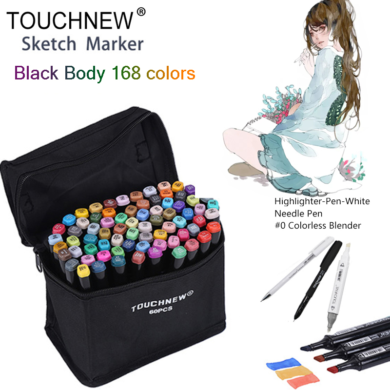 TOUCHNEW Black 168 Colors Dual Head Art Marker Set Alcohol Sketch Markers Pen for Artist Drawing Manga Design Art Supplier touchnew 80 colors artist dual headed marker set animation manga design school drawing sketch marker pen black body