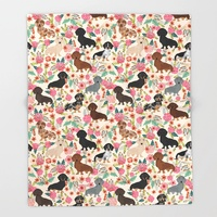 Dachshund Floral Dog Breed Pet Patterns Gifts Throw Blanket Bedspread Design Soft Fleece Throw Blanket Air Bedding