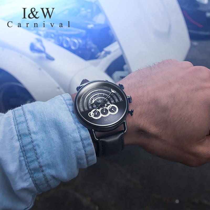 Carnaval novo masculino cronógrafo relógio de quartzo analógico relógio esporte 24 horas exibição safira à prova dwaterproof água moda relogio masculino - 5