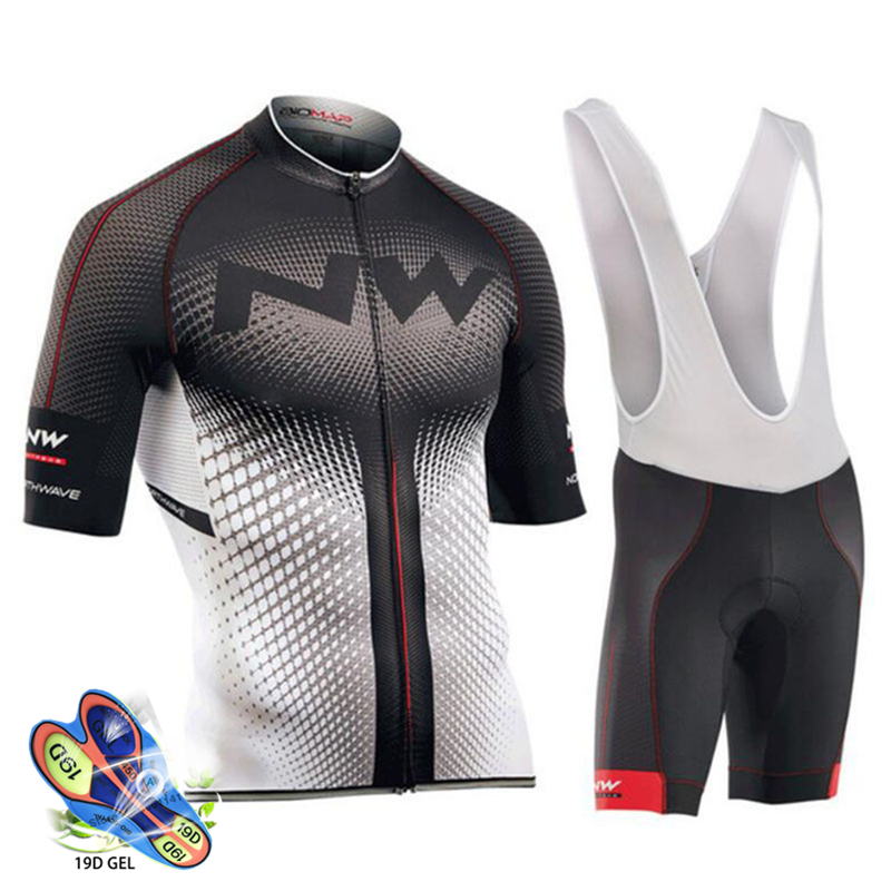 Cycling Set Black and white jersey with black and white pants