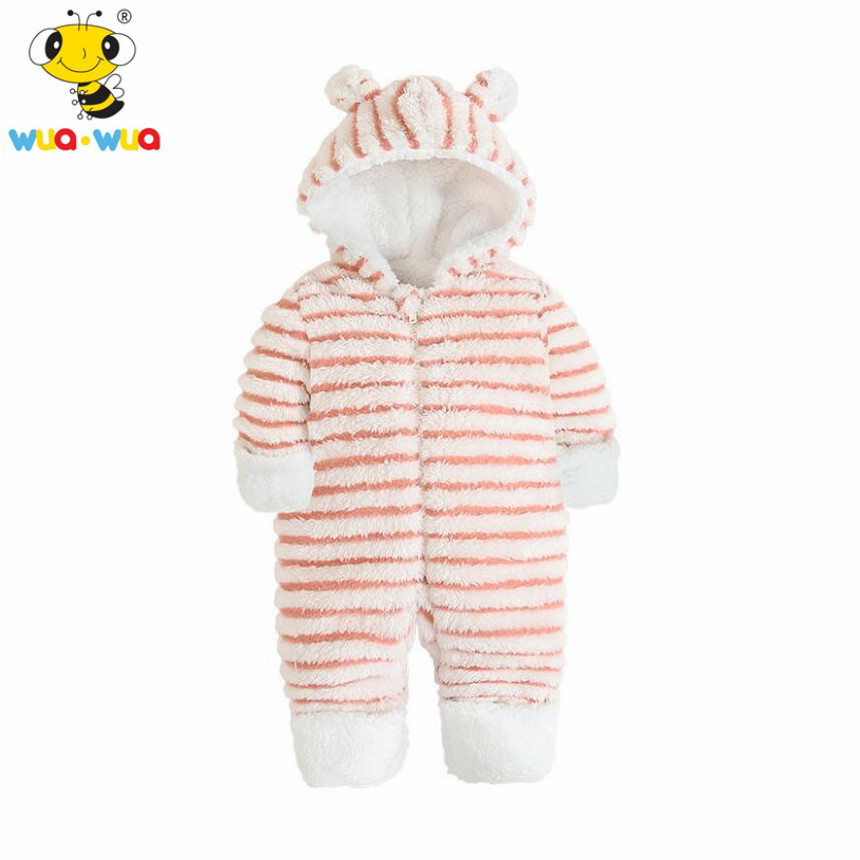 wuawua brand baby girl romper pink plush jumpsuit striped hoodie infant long sleeve stripe snowsuit winter overalls for kids