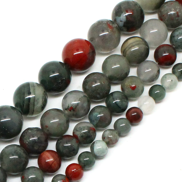 Natrual Stone Beads African Blood Jasper Beads For Jewelry Making Bracelet Neckl