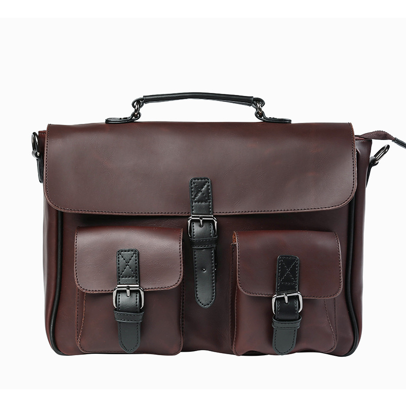 New Fashion Men PU Leather Vintage Briefcase Messenger Shoulder Bag Cross Body Handbag Laptop Bags Coffee vertical cover pu leather bags men s single shoulder slant bag vintage fashion business messenger bag for men briefcase handbag