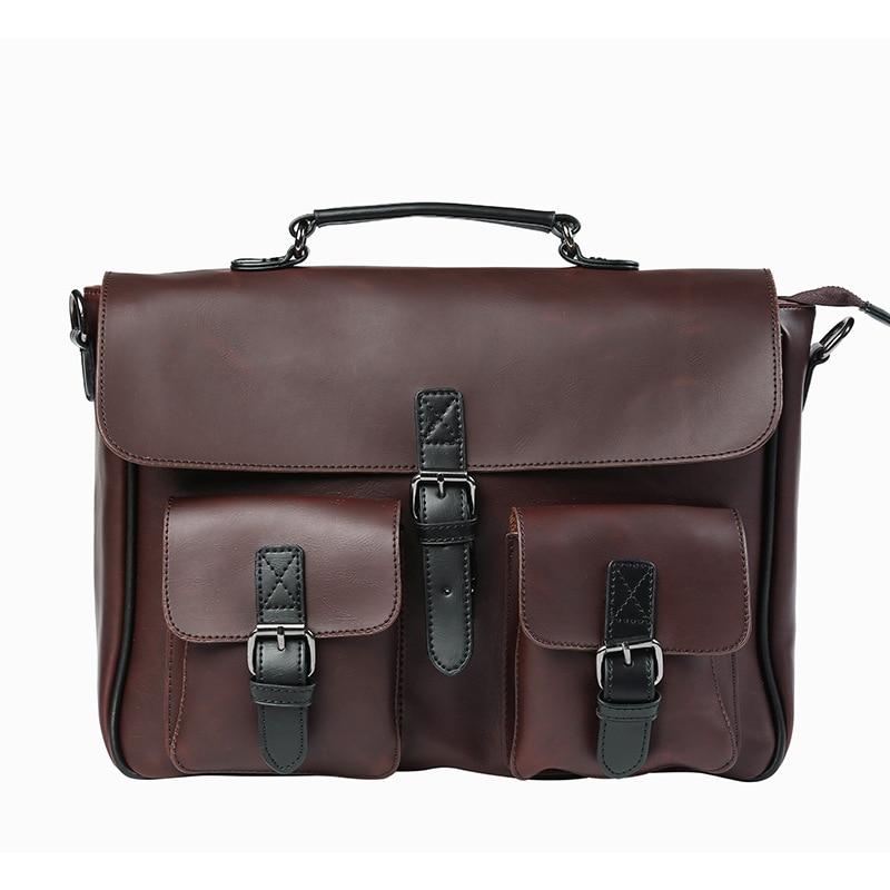 New Fashion Men PU Leather Vintage Briefcase Messenger Shoulder Bag Cross Body Handbag Laptop Bags Coffee genuine leather men briefcase new fashion commercial laptop briefcase cross body shoulder bag n073