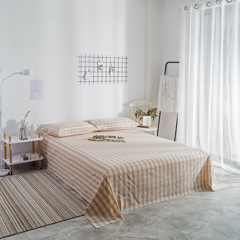 Bedding Sheet Home Textile Light Yellow Small Plaid Pattern 3PCS Flat Sheets Combed Cotton Bed Sheet Bedding Linen For King SizeBedding Sheet Home Textile Light Yellow Small Plaid Pattern 3PCS Flat Sheets Combed Cotton Bed Sheet Bedding Linen For King Size