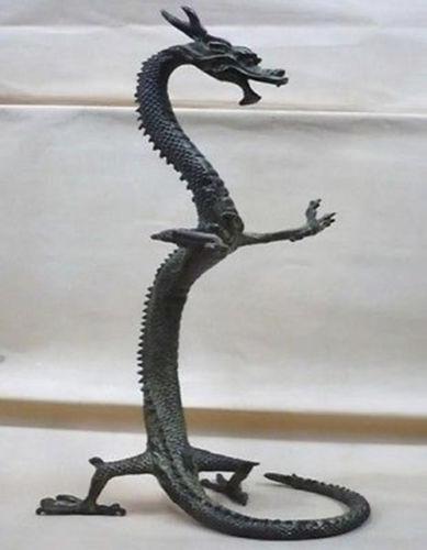 Statue de dragon en bronze chinois exquis/17