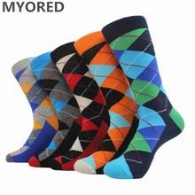 MYORED 5pairs/Lot men's cotton socks ARGYLE pattern for man