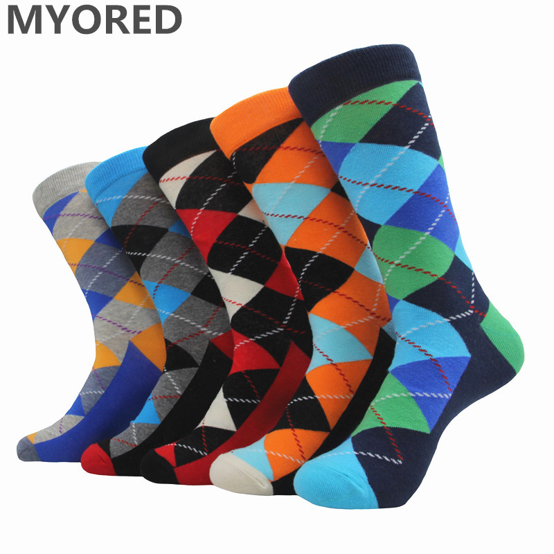 MYORED 5pairs/Lot men's cotton   socks   ARGYLE pattern for man casual dress classical long   sock   for man couple wedding gift   socks