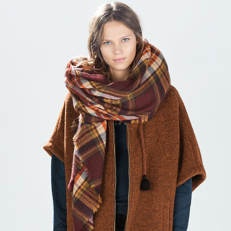 Winter Unisex Oversize font b Tartan b font Plaid Blanket Square Wrap Soft Warm Cashmere like