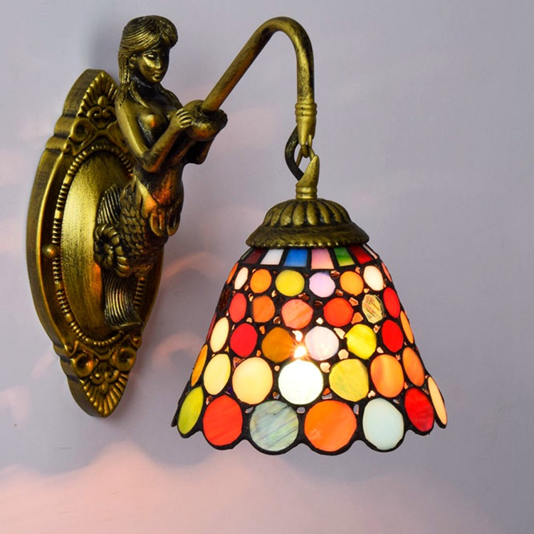 Tiffany Baroque vintage Stained Glass Iron Mermaid wall lamp indoor lighting bedside lamps wall lights for home AC 110V/220V E27 novelty led wall lamps glass ball wall lights for home decor e27 ac220v