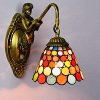 Tiffany barroco vintage vitral ferro sereia lâmpada de parede iluminação interior lâmpadas cabeceira luzes parede para casa ac 110 v/220 v e27|wall lights for home|wall light|lights for home -