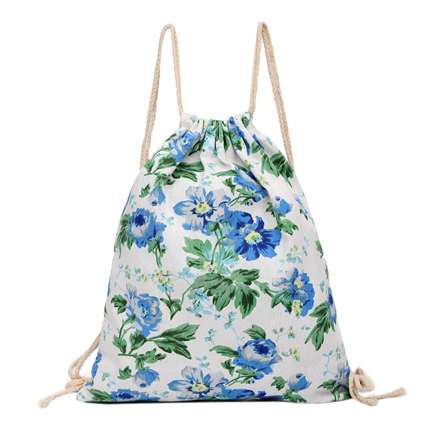 Online Get Cheap Floral Canvas Drawstring Bag -Aliexpress.com ...