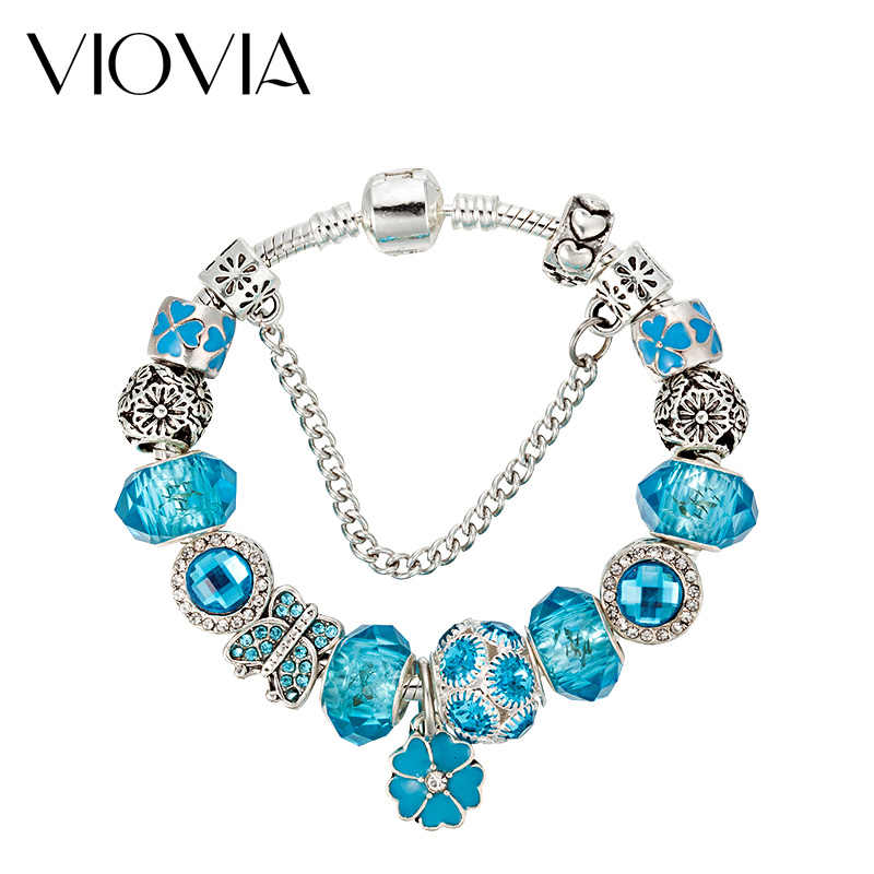 VIOVIA ヴィンテージジュエリーの花のチャームブレスレット女性ムラーノガラスビーズフィットパンブレスレット & バングル Pulseras ギフト B16070