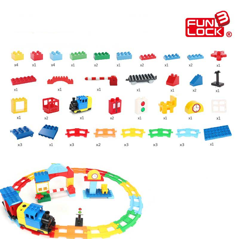 Funlock Duplo Building Blocks 55pcs Toys Train Railway Set Assemble Battery Operated Train Track Brick Set Gift for Kid Children