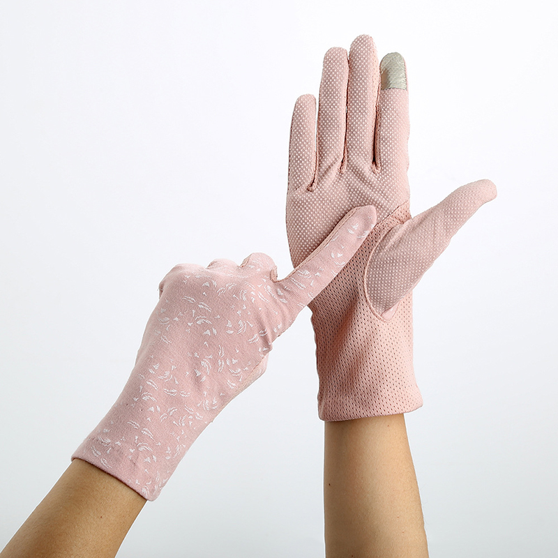Ladies Pink Gloves Summer Autumn Women Sunscreen Anti Uv Glove Stretch Slip Resistant Touchscreen Driving Gloves Breathable 23cm