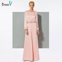 DressV розовые длинные элегантные платье комбинезон с длинными рукавами линия Свадебная вечеринка Формальные платье комбинезон шифоновое ве