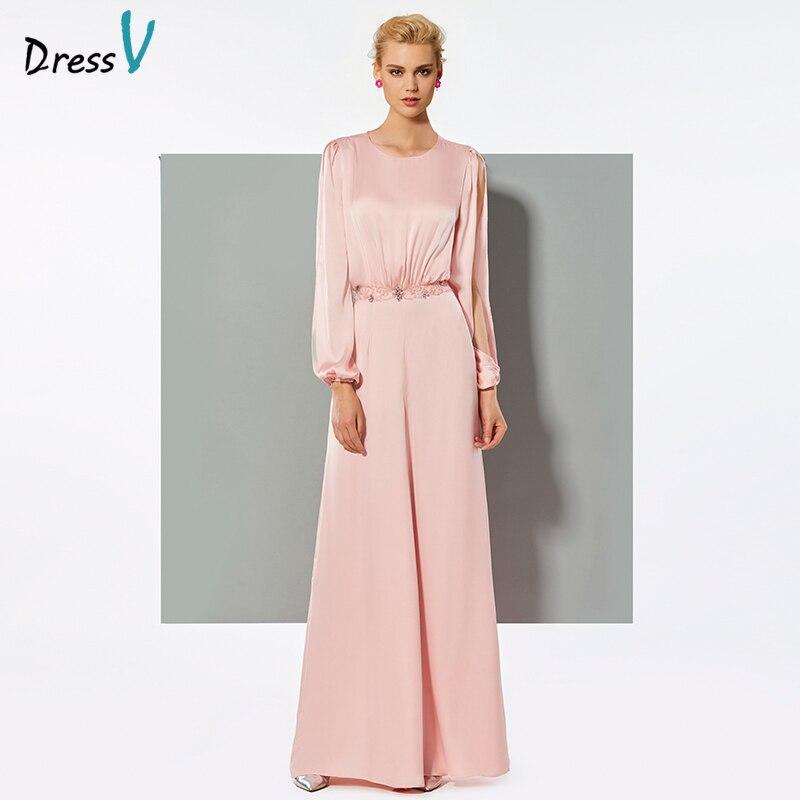 low priced bb685 d815f US $102.87 43% di SCONTO Dressv rosa lungo elegante tuta vestito maniche  lunghe una linea wedding party formale tuta vestito chiffon abito da  sera-in ...