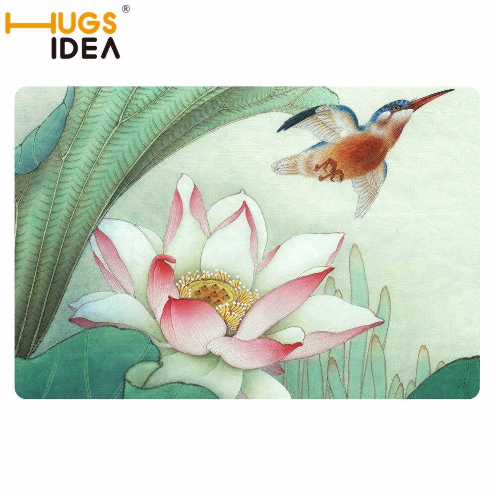 HUGSIDEA Лотос цветочный пейзаж напечатанный ковер для гостиной ковер для спальни кровать прямоугольный диван журнальный столик на заказ ковр...