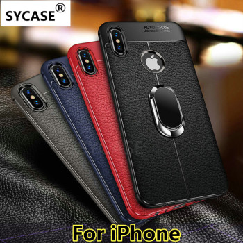 SYCASE For iPhone 5 5S SE 6 6S 7 8 Plus X XR Xs Max case Litchi pattern Leather Soft Silicone Magnetic Car Holder Back cover