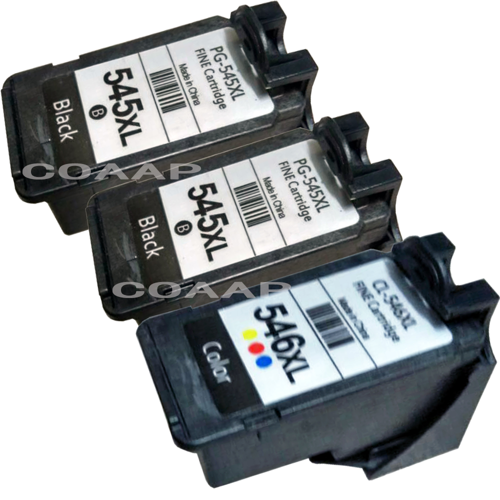 3pk Compatible Canon 545 546 XL Refillable ink cartridge for Pixma MG2400 MG2450 MG2500 MG2550 MG2580