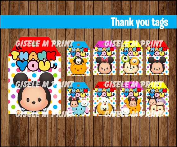 Tsum Thank You Tags Labels Gift Favors Birthday Party Decorations Kids