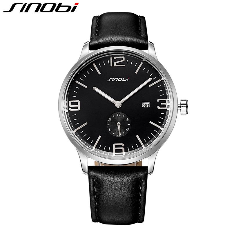 цены  SINOBI Ultra Slim 2017 New Watch men Casual Business Leather Strap Clock Analog Quartz Fashion Male Wristwatch Relogio Masculino