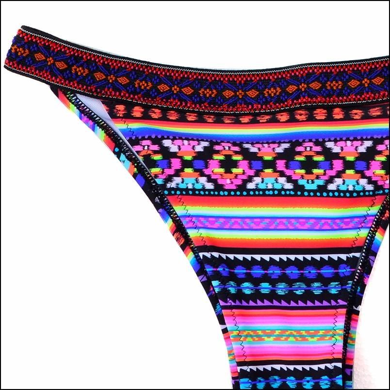 17 Spicy Women Triangle Biquini Ethnic Pattern Bandage Sexy Swimwear Low Waist Thongs Brazilian Bikini Set Hot Bathing Suit 12