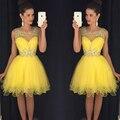 Fantastic Crystal Yellow Cocktail Dress Mini Dress Sweetheart Princess Short Vestido De Noive Zip Women Party Cocktail Dresses