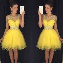 Fantastische Kristall Gelb Cocktailkleid Minikleid Liebsten Prinzessin Kurze Vestido De Noive Zip Frauen Partei-cocktailkleider