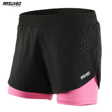 ARSUXEO Women Breathable Running Shorts  Quick Dry 2 in 1 Marathon Fitness Yoga Training Gym Underwear Running Clothes Shorts arsuxeo 2 in 1 marathon running shorts men breathable quick dry training fitness athletic gym sports shorts with zipper pocket