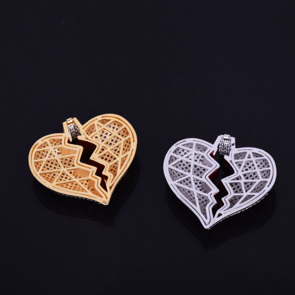 Red oil Heart Necklace & Pendant With 4mm Tennis Chain Gold Silver Color Cubic Zircon Men's Women Hip hop Jewelry For Gift 5