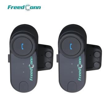 FreedConn 2pcs Original T-COM FM Bluetooth Motorcycle Helmet Intercom Interphone Headset+Soft Microphone for Full Face Helmet