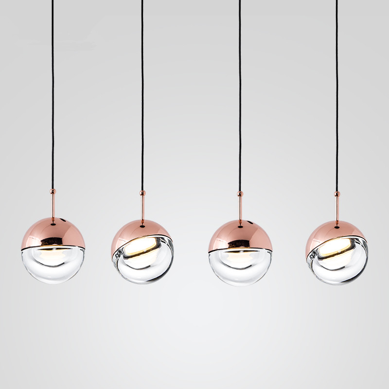 Nordic LED Pendant Lights Globe Glass Hanglamp art Ball Pendant Lamps For Living Room bar Lustres Luminiare Light Fixtures