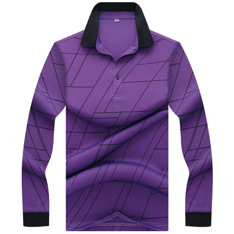 Tace & Shark   Polo   Shirt Men Long Sleeve Stylish Fashion Design Geometric patterns Men's Homme Casual & Business   polo   shirts