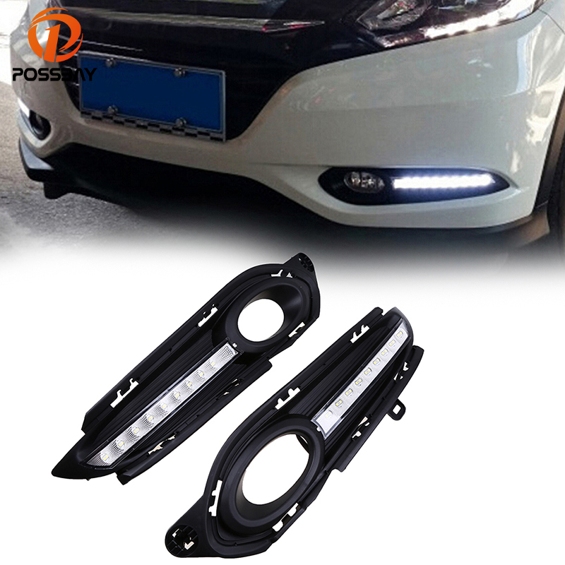 POSSBAY Daylights for Honda HR-V 2014-Present Yellow Turn Signal Light Car DRL 12V LED Daytime Running Light With Fog Light Hole eosuns led drl daylights daytime running light with yellow turn signal fog lamp for ford mondeo 2010 12 wire module controller