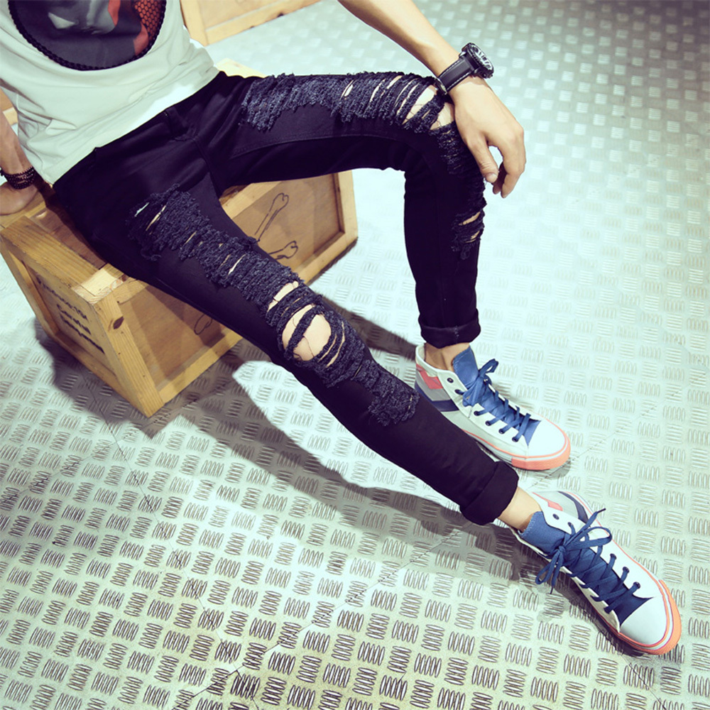 New Famous Brand Vintage Men designer Casual Hole Ripped Jeans Mens Fashion Skinny Denim Pants Slim Fit Male Trou 2017 fashion patch jeans men slim straight denim jeans ripped trousers new famous brand biker jeans logo mens zipper jeans 604