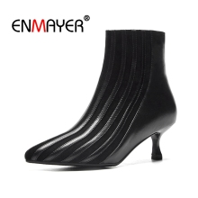 ENMAYER Ankle boots Women Fashion Boots Autumn Winter Woman Boots Pointed toe Thin heels Zipper Women's Shoes Patchwork CR1450 msfair pointed toe thin heels women boots genuine leather zipper ankle boots women shoes winter elegant ankle boots shoes woman