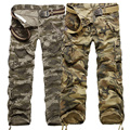 2016 primavera e outono novos homens em calças de camuflagem de grande porte multi-bolso calça casual ferramental