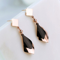 YUN RUO Fashion European Style Rose Gold Color Geometric Tassel Stud Earring for Woman 316 L Stainless Steel Jewelry Not Fade
