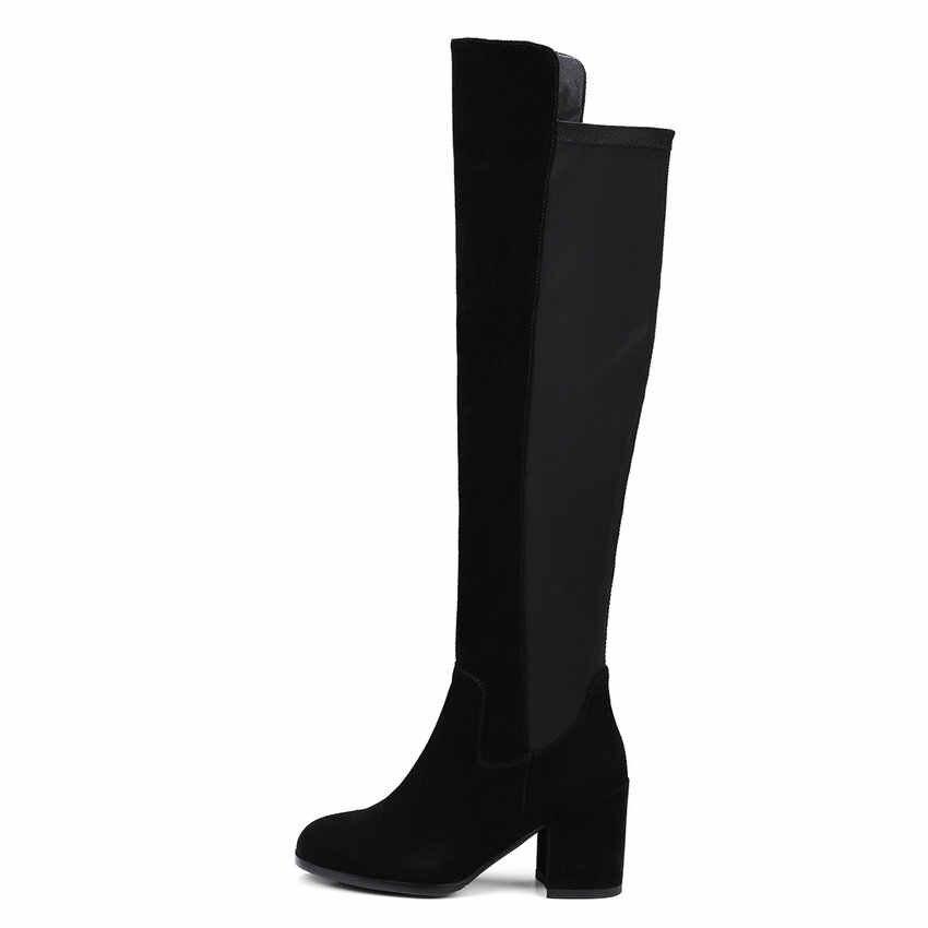 ESVEVA 2018 ผู้หญิงรองเท้า Handmade กว่าเข่าบู๊ทส์สแควร์รองเท้าส้นสูงหนังนิ่ม + PU สุภาพสตรีขนสัตว์สุภาพสตรียาวรองเท้าขนาด 34-39