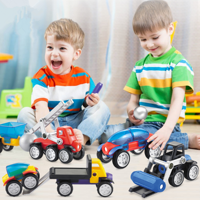Magnetic Building Blocks DIY Construction Car Model Sets Boy Kids Funny Magnets Bricks Games Children Toys Gifts Educational Toy 2016 kids diy toys plastic building blocks toys bricks set electronic construction toys brithday gift for children 4 models in 1