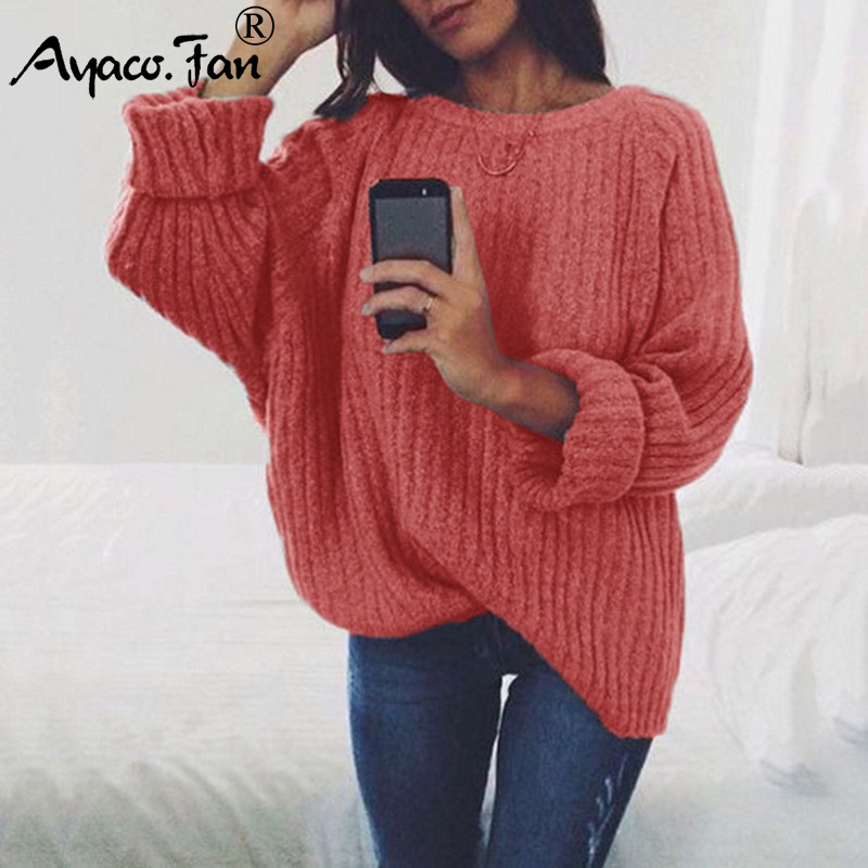 Autumn Winter Oversize Sweater Knitted Pullover O neck Casual Black Long Sleeve Pull Femme Hiver 2019 New Solid Women Sweaters