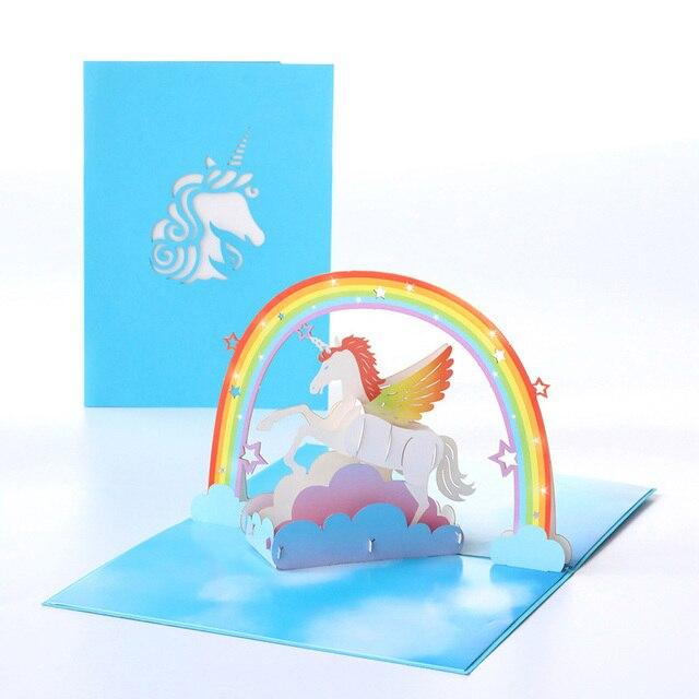 Pcs Cartão 1 13*18 centímetros Criança Cartões de Convite de Corte A Laser Presente Agradável 3D Unicórnio Em Branco Envelope Kraft decoração Do Casamento De papel