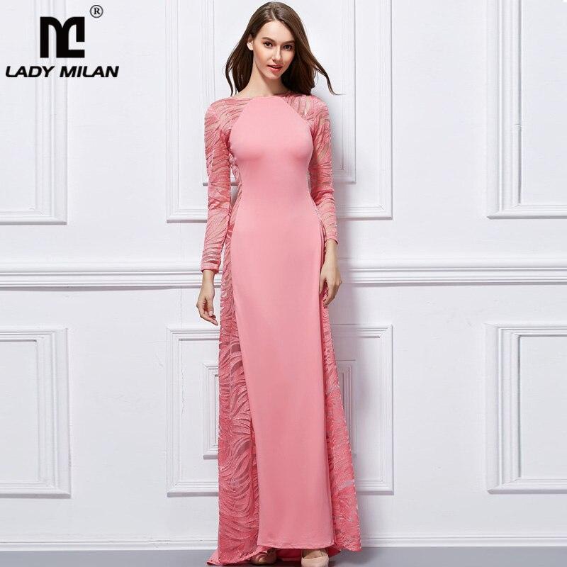Lady Milan 2019 femmes col rond manches longues broderie Sexy pure Patchwork fête bal Desinger Maxi robes de piste