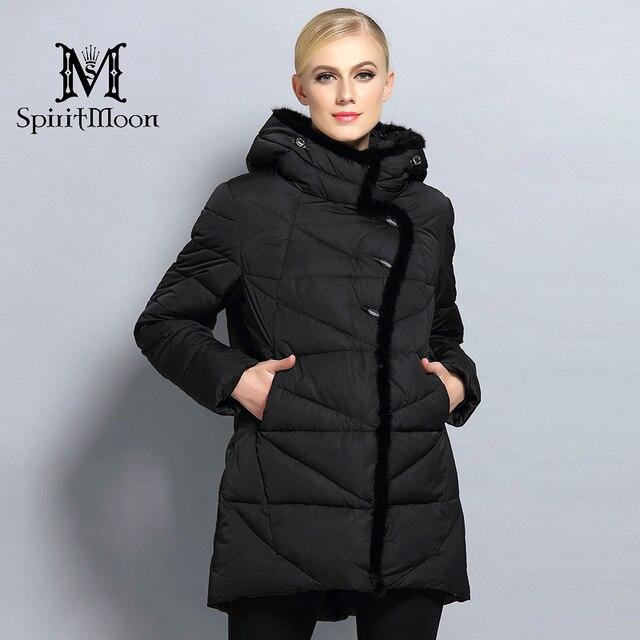SpiritMoon 2017 Neue Frauen Wintermantel Mit Kapuze Parka Warme Weibliche Starke mantel Bio Daunenjacke Mit Natürlichen Pelz Große Plus Größe 5XL 6XL