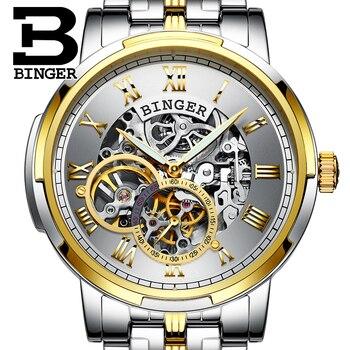 Golden Watches For Men BINGER Top Brand Luxury Men's Auto Mechanical Watches Luminous Skeleton Royal Carving Series Men Watch